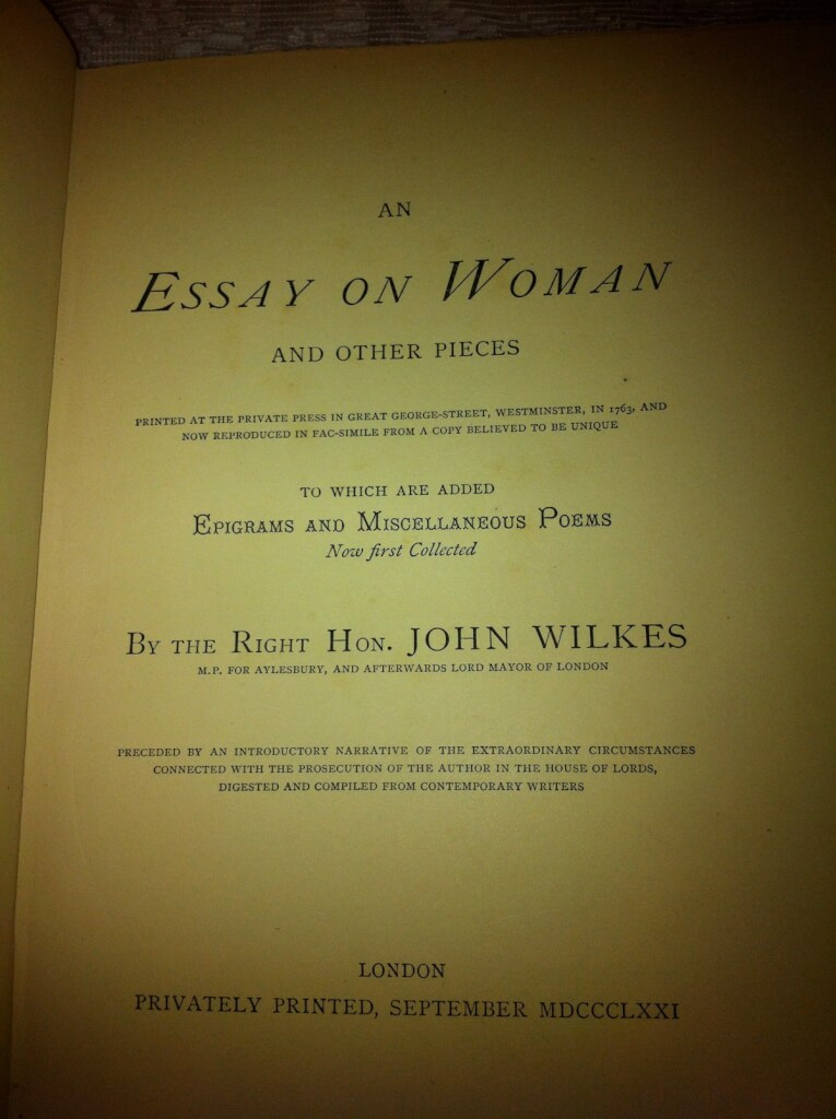 an essay on w and other pieces printed at the private press in an essay on w and other pieces printed at the private press in great george street westminster in 1763 and now reproduced in fac simile from a copy